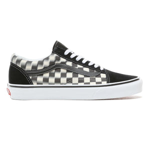 Mens Vans Blur Check Old Skool Skate Shoe In Black White