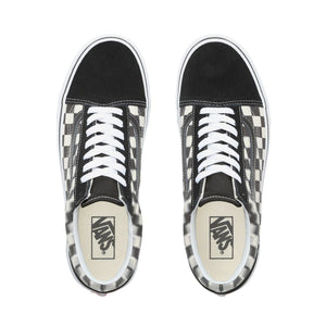 Mens Vans Blur Check Old Skool Skate Shoe In Black White - Simons Sportswear