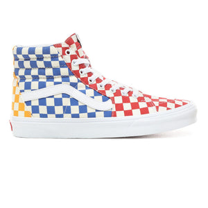 Mens Vans Checkerboard Sk8-Hi Skate Shoe In Multi Color True White