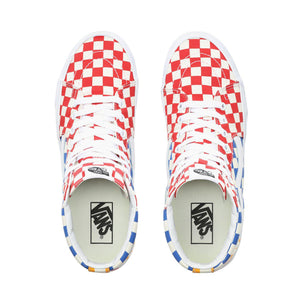 Mens Vans Checkerboard Sk8-Hi Skate Shoe In Multi Color True White - Simons Sportswear