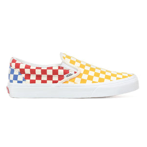 Mens Vans Checkerboard Slip-On Skate Shoe In Multi Color True White - Simons Sportswear