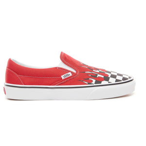 Mens Vans Classic Slip On Checkerboard Flames Skate Shoe In Racing Red Checker Flame - Simons Sportswear