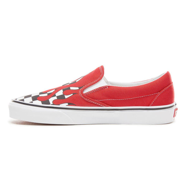 3a248e8980 Mens Vans Classic Slip On Checkerboard Flames Skate Shoe In Racing Red -  Simons Sportswear
