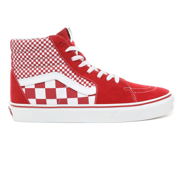 Mens Vans Mix Checker Sk8-Hi Skate Shoe In Chili Pepper Red White ... e8acc06afc