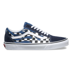 Mens Vans Old Skool Checker Flames Skate Shoe In Navy - Simons Sportswear
