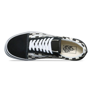 Mens Vans Old Skool Primary Checker Skate Shoe In Black White - Simons Sportswear
