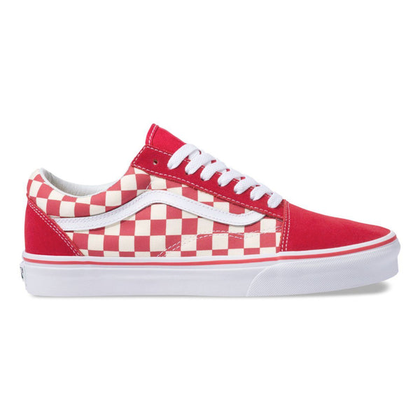 Mens Vans Old Skool Primary Checker Skate Shoe In Racing Red White ... 13e9c5fa7