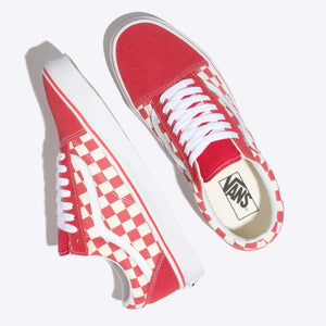 Mens Vans Old Skool Primary Checker Skate Shoe In Racing Red White - Simons Sportswear