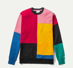 Mens Vans Patchy Crew Pullover Sweatshirt In Multi Color Block - Simons Sportswear