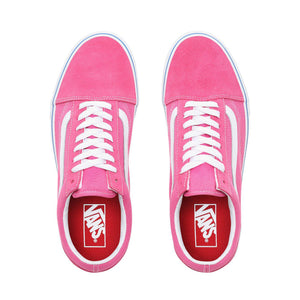 Mens Vans Suede Canvas Old Skool Skate Shoe In Carmine Rose True White