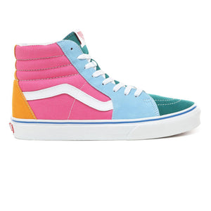 Mens Vans Suede Canvas Sk8-Hi Skate Shoe In Canvas Bright Color Block