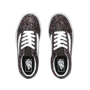 Preschool Kids Vans Glitter Stars Old Skool Skate Shoe In Glitter Black True White - Simons Sportswear