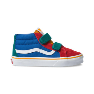 Preschool Kids Vans Primary Block Sk8-Mid Reissue V Skate Shoe In Lapis Blue True White - Simons Sportswear