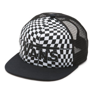 Vans Spring Break Trucker Hat In Black Warp Check - Simons Sportswear