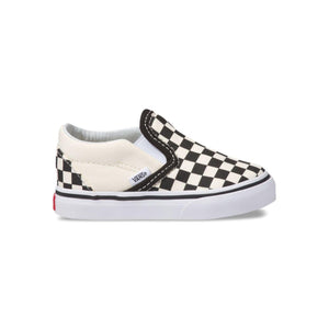 Toddler Kids Vans Classic Slip On Checkerboard Skate Shoe In Off White - Simons Sportswear