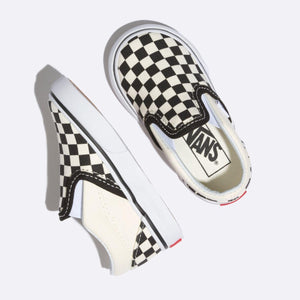 Toddler Kids Vans Classic Slip On Checkerboard Skate Shoe In Off White Black