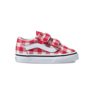 Toddler Kids Vans Gingham Old Skool V Skate Shoe In Racing Red