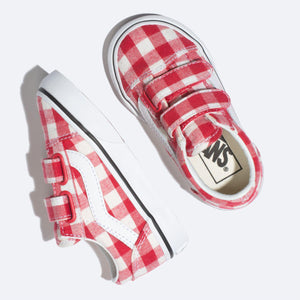 Toddler Kids Vans Gingham Old Skool V Skate Shoe In Racing Red - Simons Sportswear