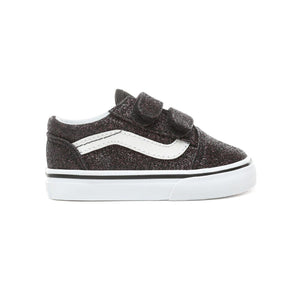 Toddler Kids Vans Glitter Stars Old Skool V Skate Shoe In Black Glitter Stars - Simons Sportswear