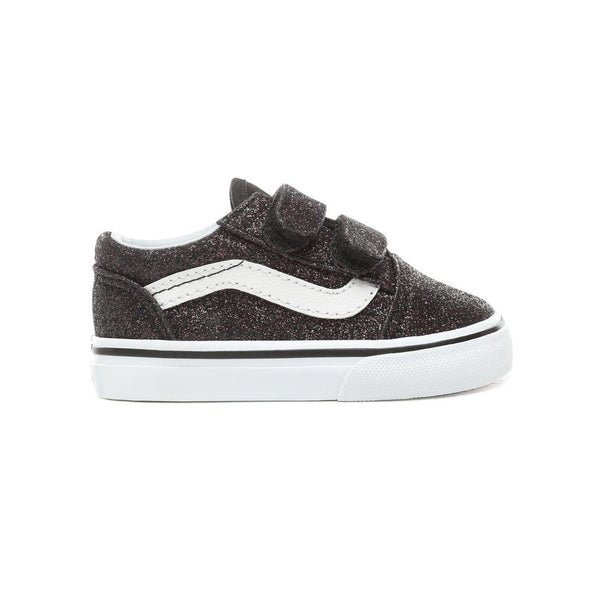 7043b8de9 Toddler Kids Vans Glitter Stars Old Skool V Skate Shoe In Black Glitter  Stars