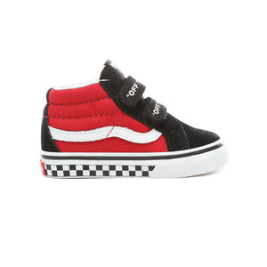 Toddler Kids Vans Logo Pop Sk8-Mid Reissue V Skate Shoe In Black True White Red