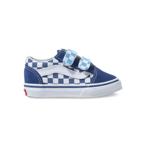 Toddler Kids Vans Old Skool V Checkerboard Skate Shoe In True Navy Bonnie Blue - Simons Sportswear