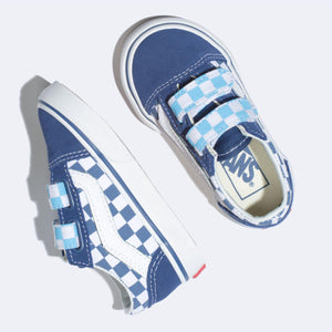 Toddler Kids Vans Old Skool V Checkerboard Skate Shoe In True Navy Bonnie Blue