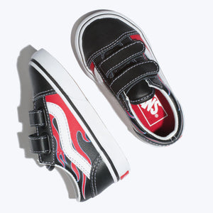 Toddler Kids Vans Old Skool V Moto Flame Skate Shoe In Black Racing Red