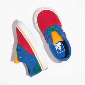 Toddler Kids Vans Primary Block Era Skate Shoe In Lapis Blue True White