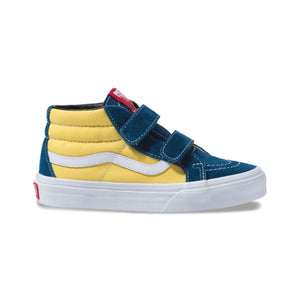 Toddler Kids Vans Sk8-Mid Reissue V Skate Shoe In Sailor Blue Aspen Gold