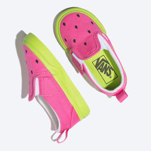 Toddler Kids Vans Slip-On V Watermelon  In Carmine Rose Lime Green