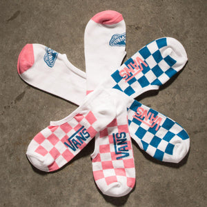 Womens Vans 3 Pack L8r Check Canoodle Socks In Multi Pink Blue