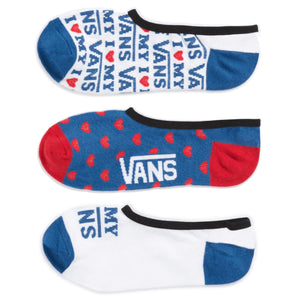 Womens Vans 3 Pack Love Canoodle Socks In Red White Blue