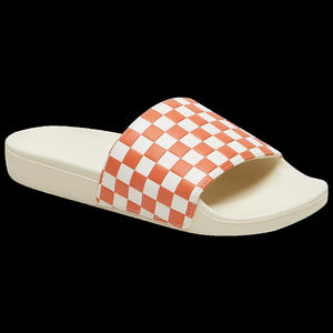 Womens Vans Checkerboard Slide-On Flip Flops Sandals In Carnelian - Simons Sportswear
