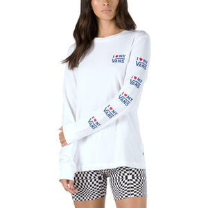 Womens Vans Love Long Sleeve Tee Shirt In White - Simons Sportswear