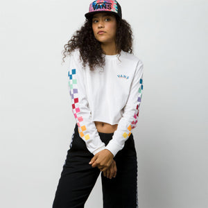 Womens Vans Rain Checks Long Sleeve Crop Tee Shirt In White - Simons Sportswear