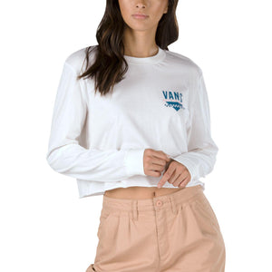 Womens Vans Sound Checker Long Sleeve Crop Tee Shirt In White - Simons Sportswear