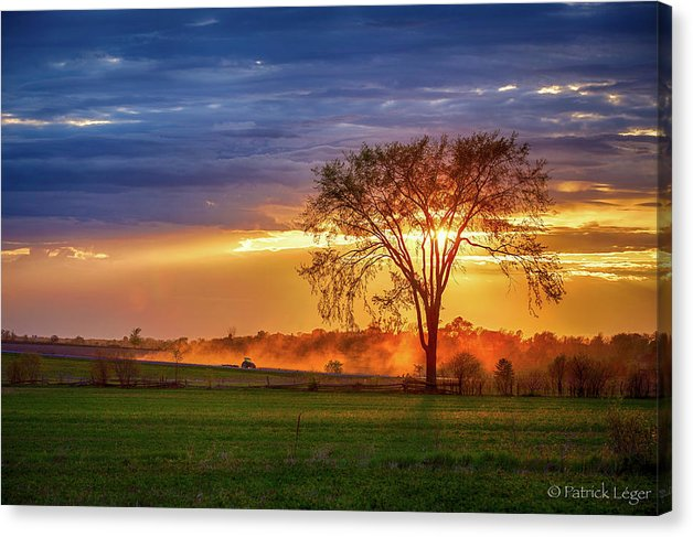 Dusty Tractor Sunset - Canvas Print