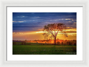 Dusty Tractor Sunset - Framed Print