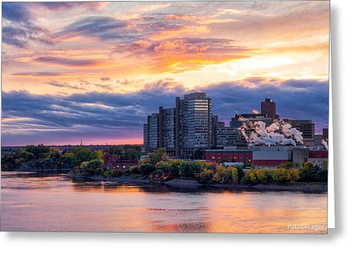 Portage Fall Sunset Colors - Greeting Card