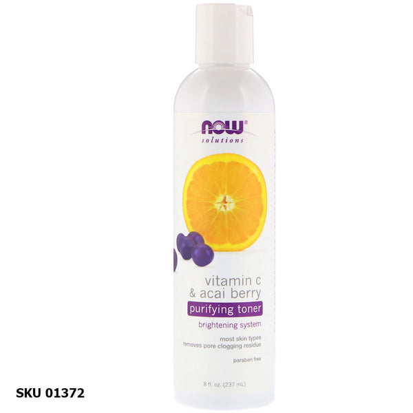 NOW SOLUTIONS, Lotion Toner Purifiante Vitamine C & Baies d'Açaï (237 ml)