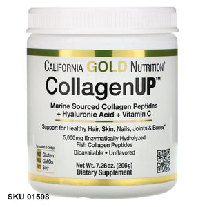 California Gold Nutrition, CollagenUP, collagène hydrolysé marin + acide hyaluronique + vitamine C, Sans saveur  (206 g)