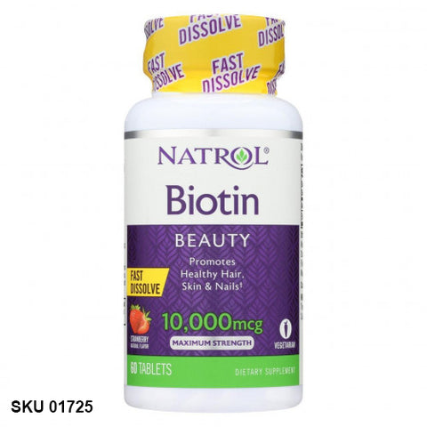 Natrol, Biotin, Maximum Strength, 10 000 mcg, Fraise, 60 comprimés