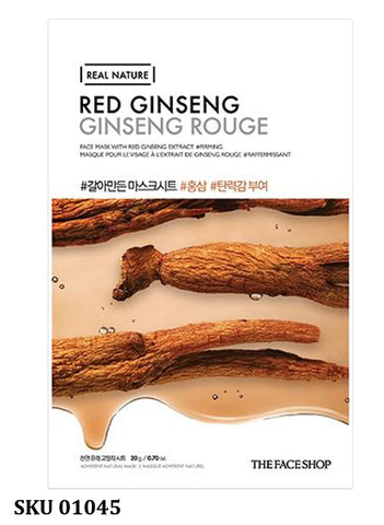 Masque en feuille REAL NATURE - Ginseng rouge