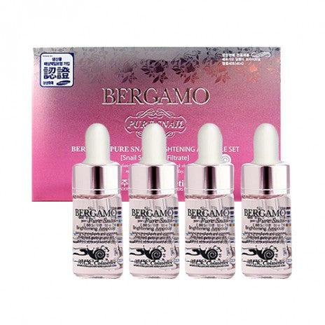 Bergamo, Pure Snail Brightening Ampoule Set - 4pcs