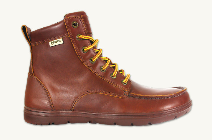 Men's brown leather zero drop hiking boots