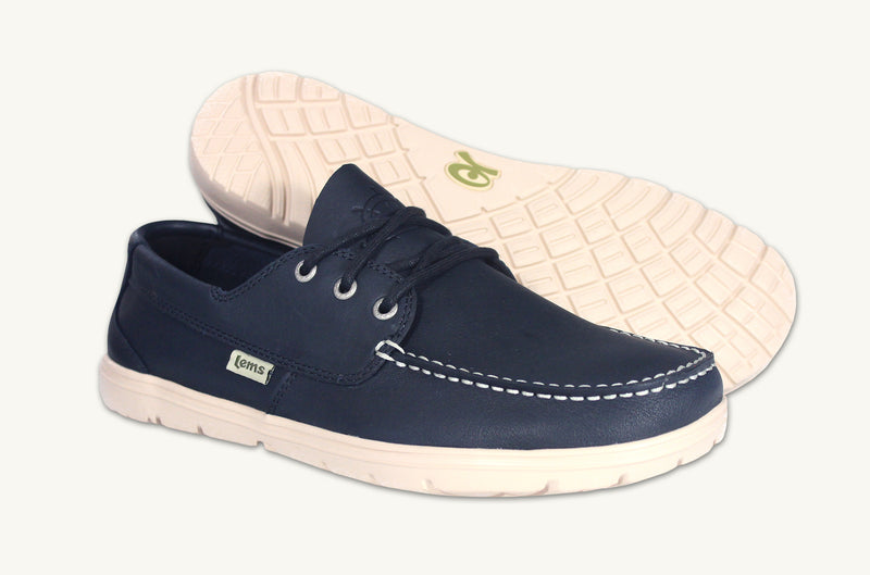 Lems Men's Blue Leather Mariner Boat Shoe