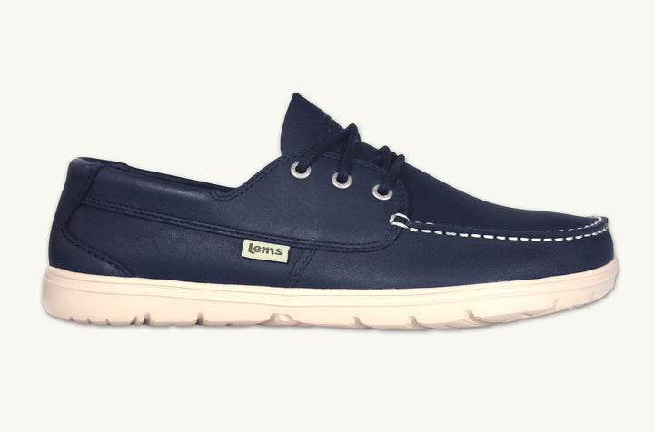 Blue leather zero drop minimalist men's boat shoe