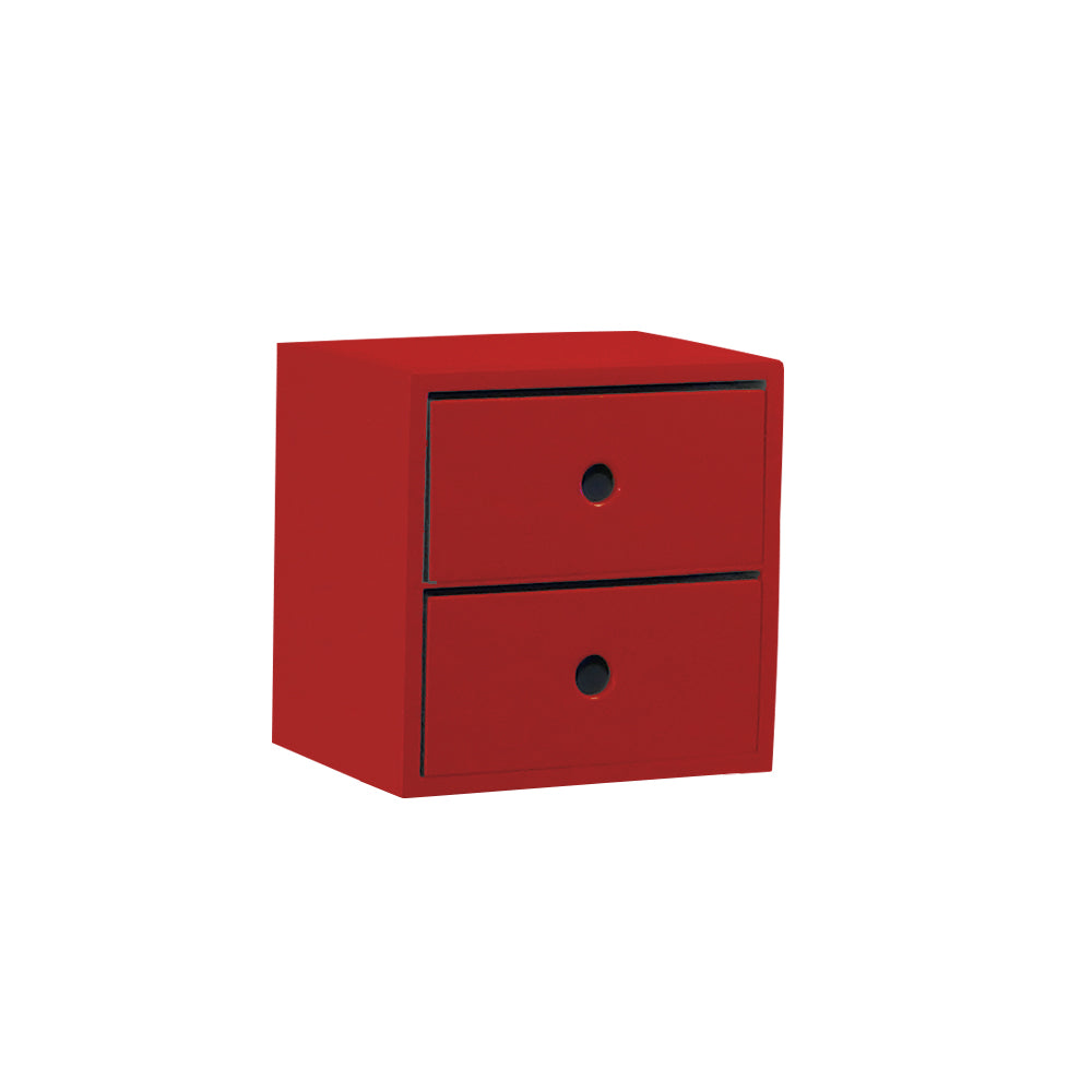 2 Drawer Red Accent Tabletop Display Riser - For Rent