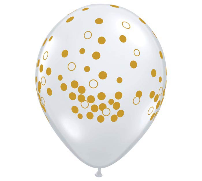 Qualatex Round Gold Confetti Dots Latex Balloon